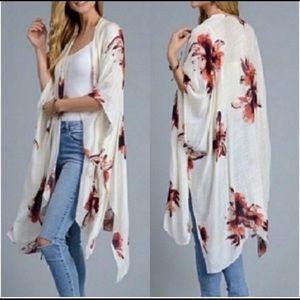 Woven Heart Cream Orchid Print Kimono